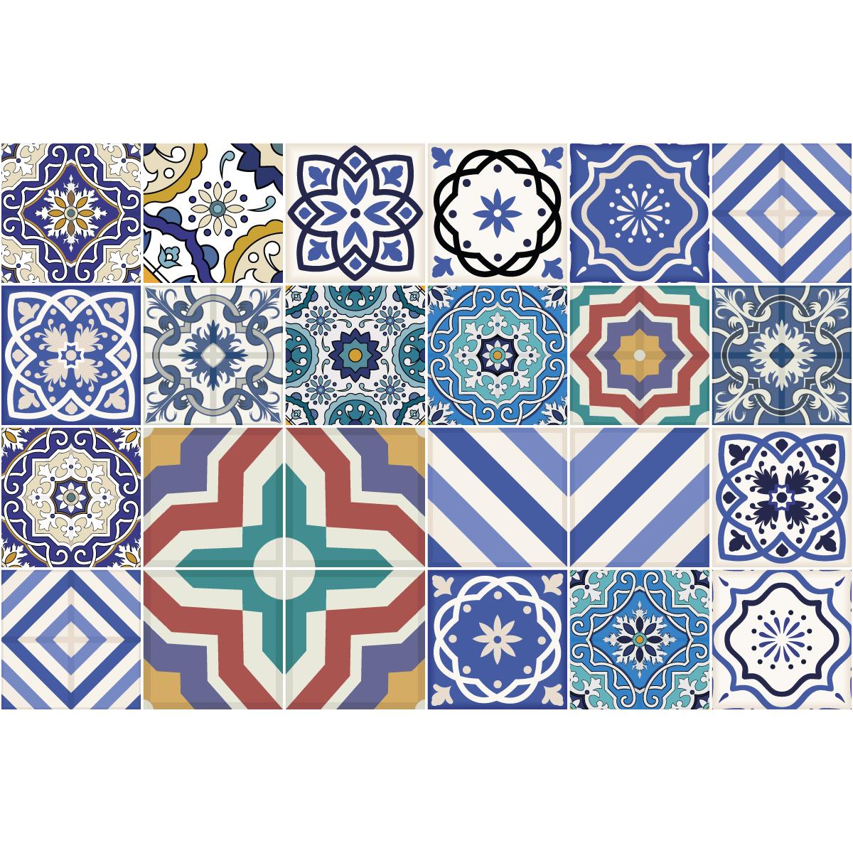 24 stickers carreaux de ciment chiara salle de bain et for Stickers carreaux de ciment 20x20