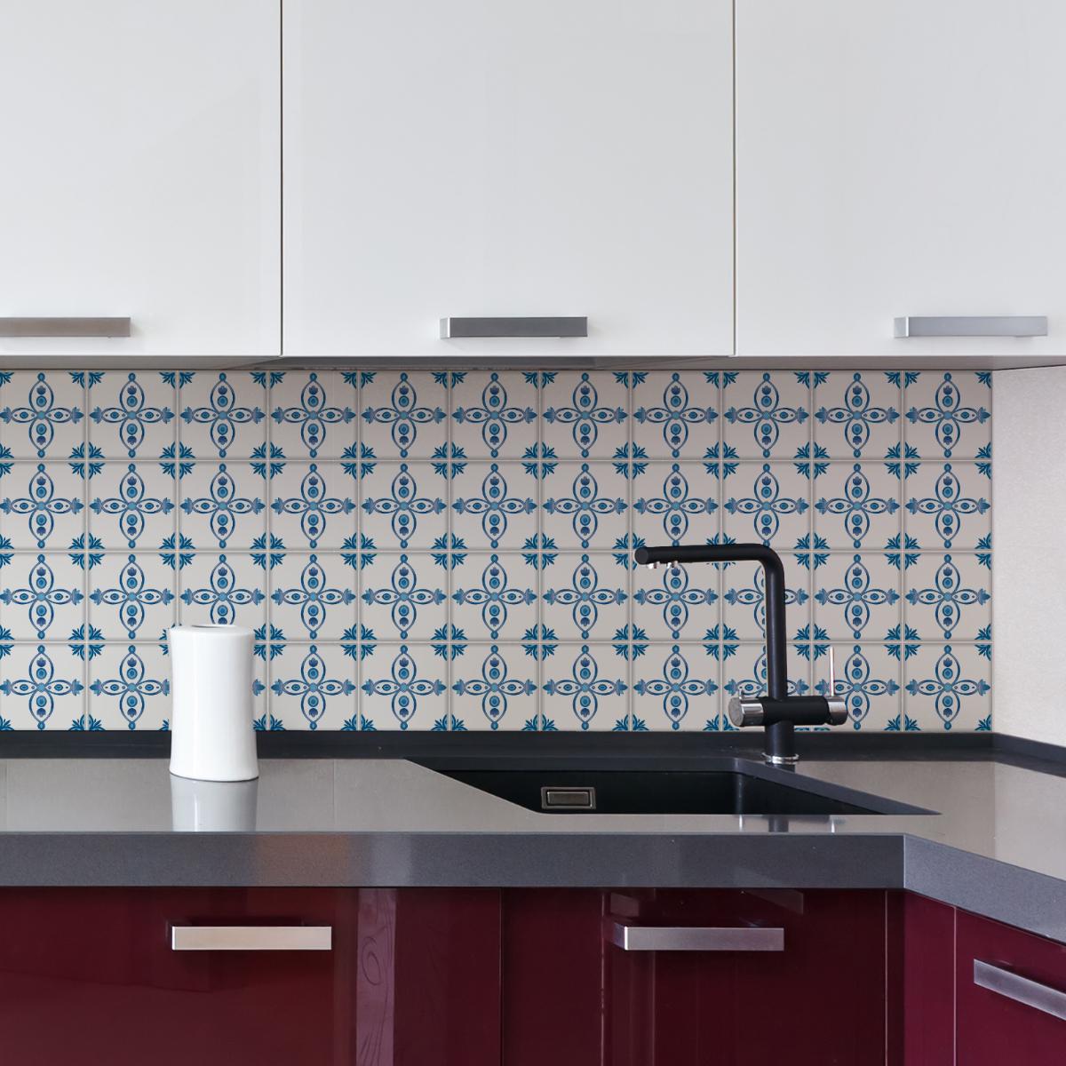 24 stickers carreaux de ciment delft dordrecht cuisine carrelages ambiance sticker. Black Bedroom Furniture Sets. Home Design Ideas