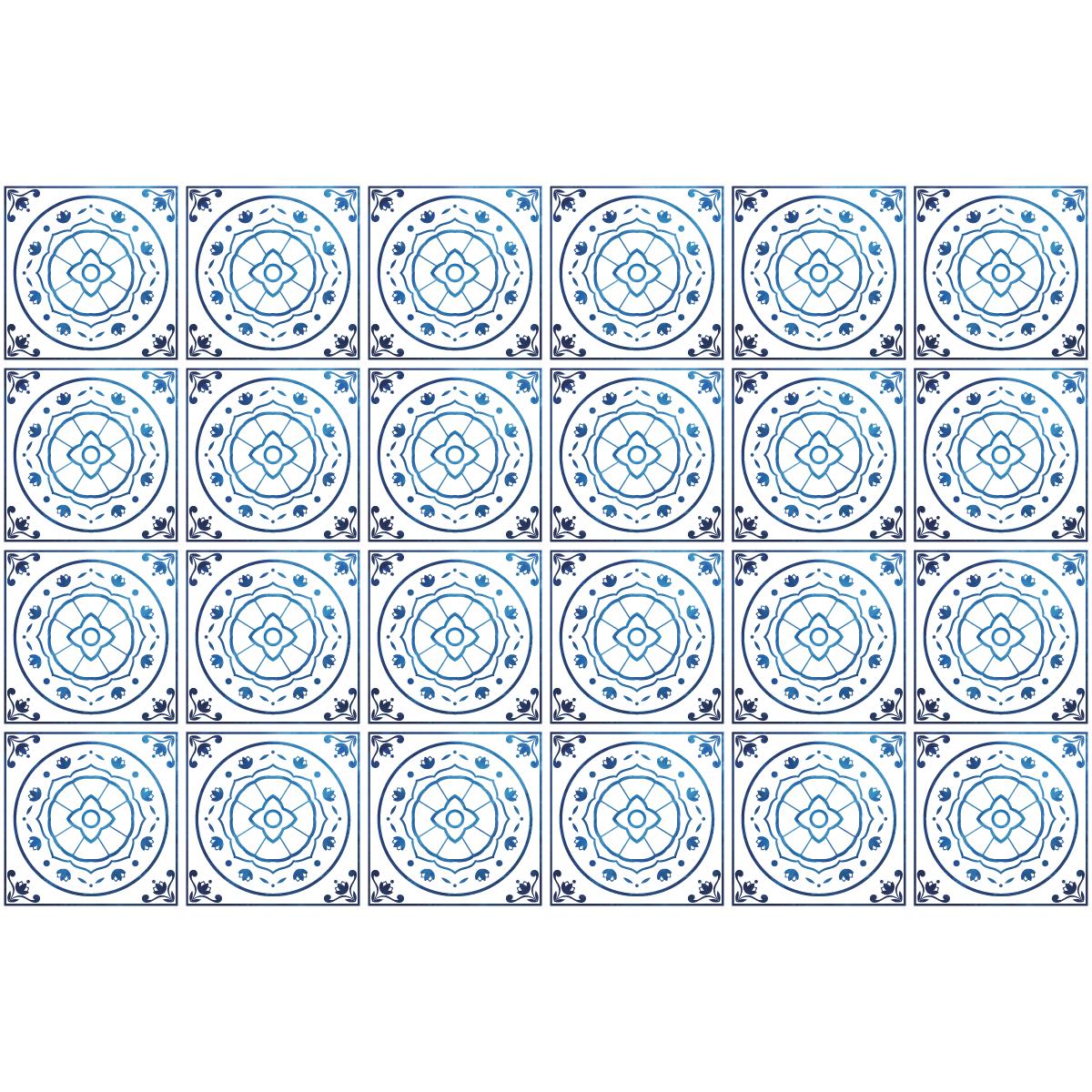 24 stickers carreaux de ciment delft rotterdam cuisine carrelages ambiance sticker. Black Bedroom Furniture Sets. Home Design Ideas
