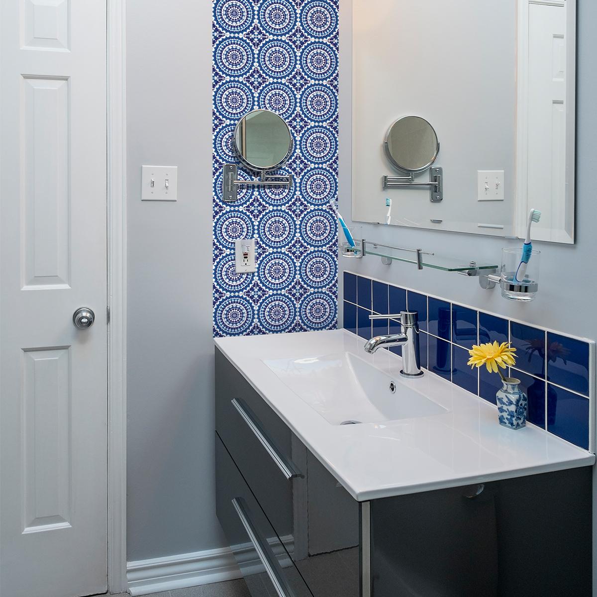24 stickers carreaux de ciment ethnique bangui cuisine. Black Bedroom Furniture Sets. Home Design Ideas