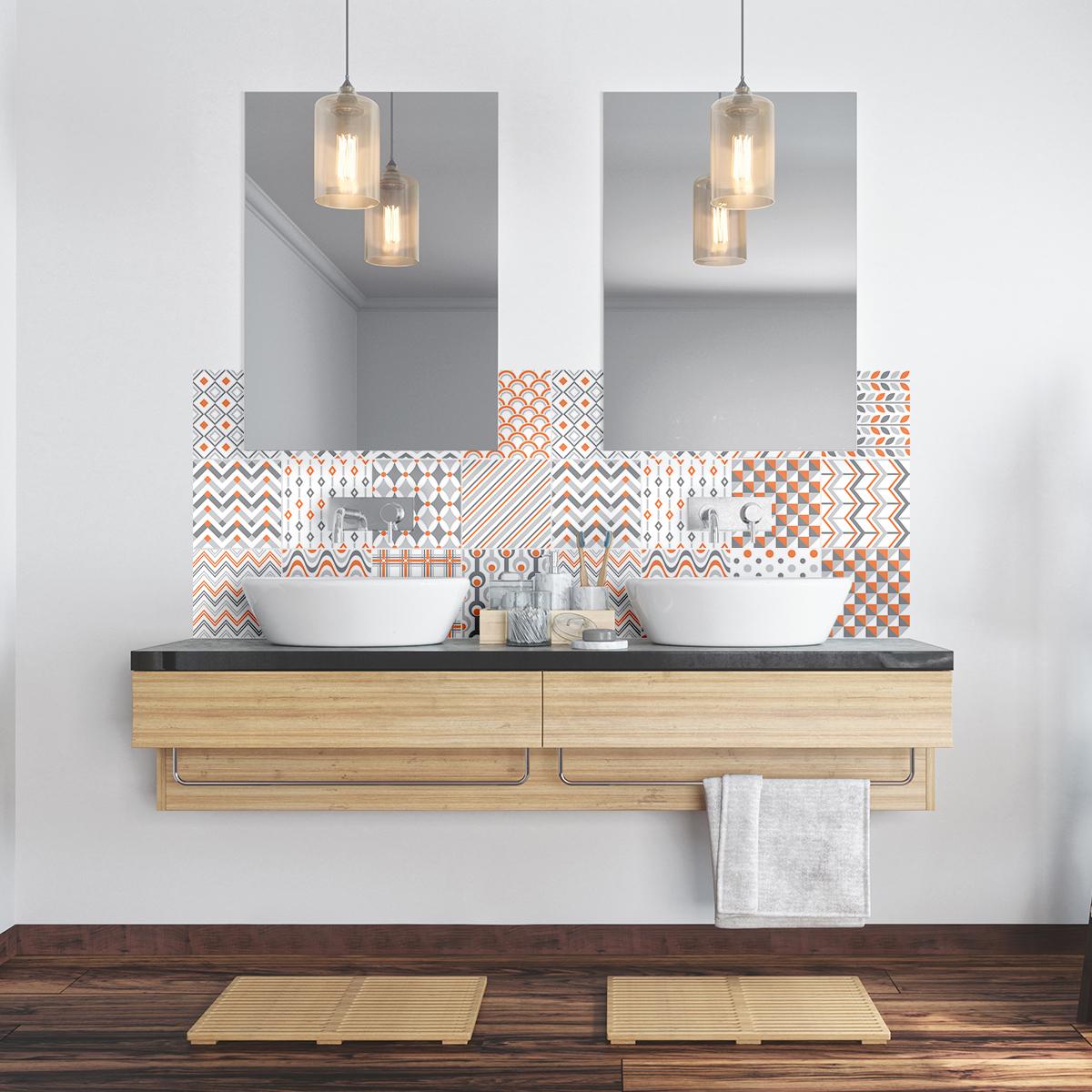 24 stickers carreaux de ciment ethnique makati cuisine carrelages ambiance sticker. Black Bedroom Furniture Sets. Home Design Ideas
