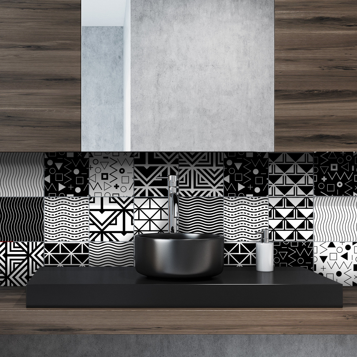 24 stickers carreaux de ciment ethnique varna cuisine. Black Bedroom Furniture Sets. Home Design Ideas