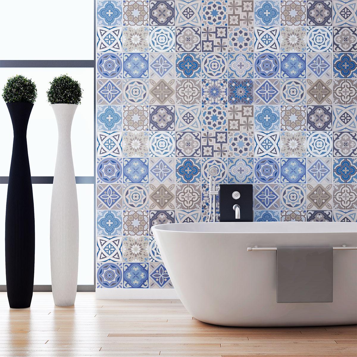 24 stickers carreaux de ciment honduras salle de bain et wc salle de bain ambiance sticker. Black Bedroom Furniture Sets. Home Design Ideas