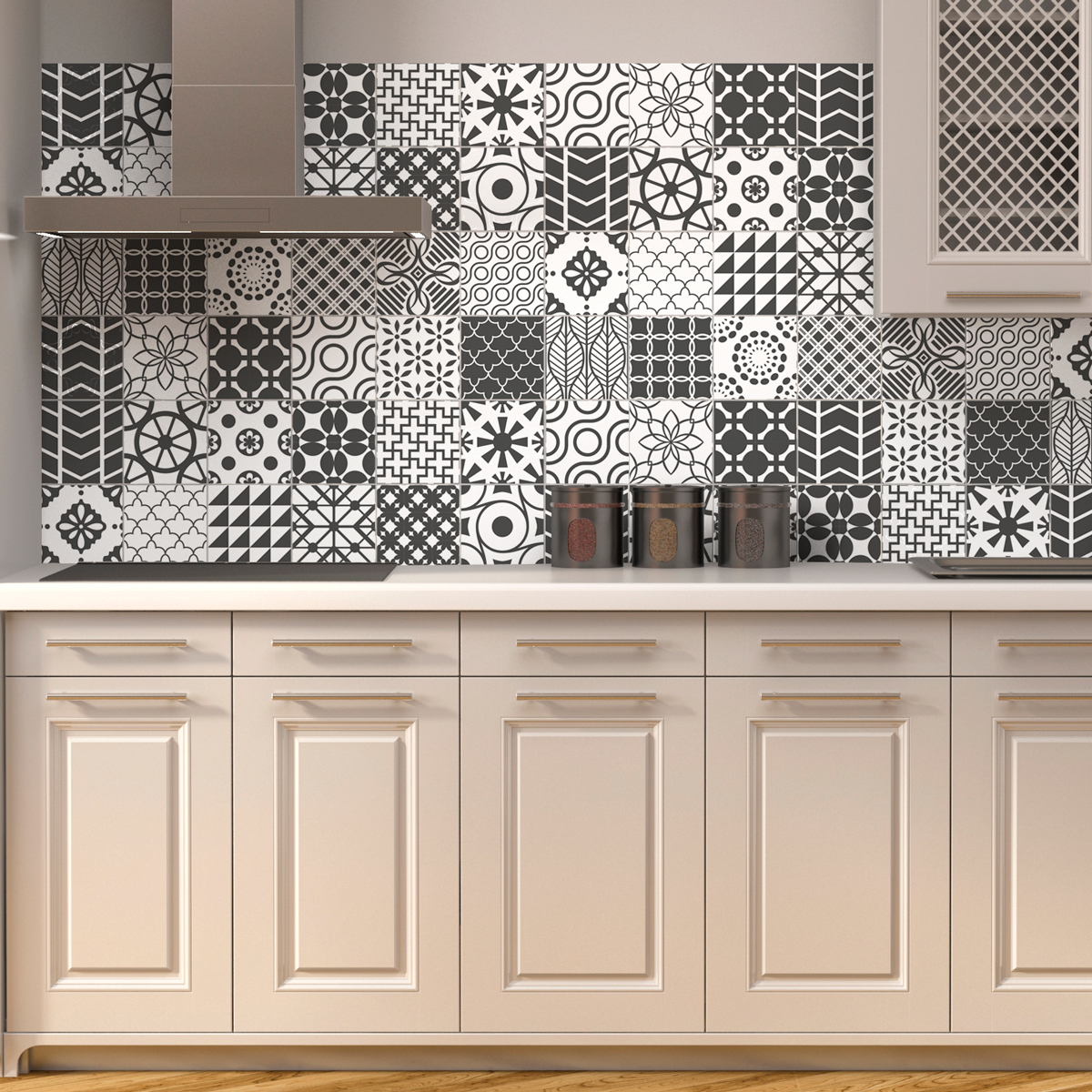 24 stickers carreaux de ciment nuances de gris lindos cuisine carrelages ambiance sticker. Black Bedroom Furniture Sets. Home Design Ideas