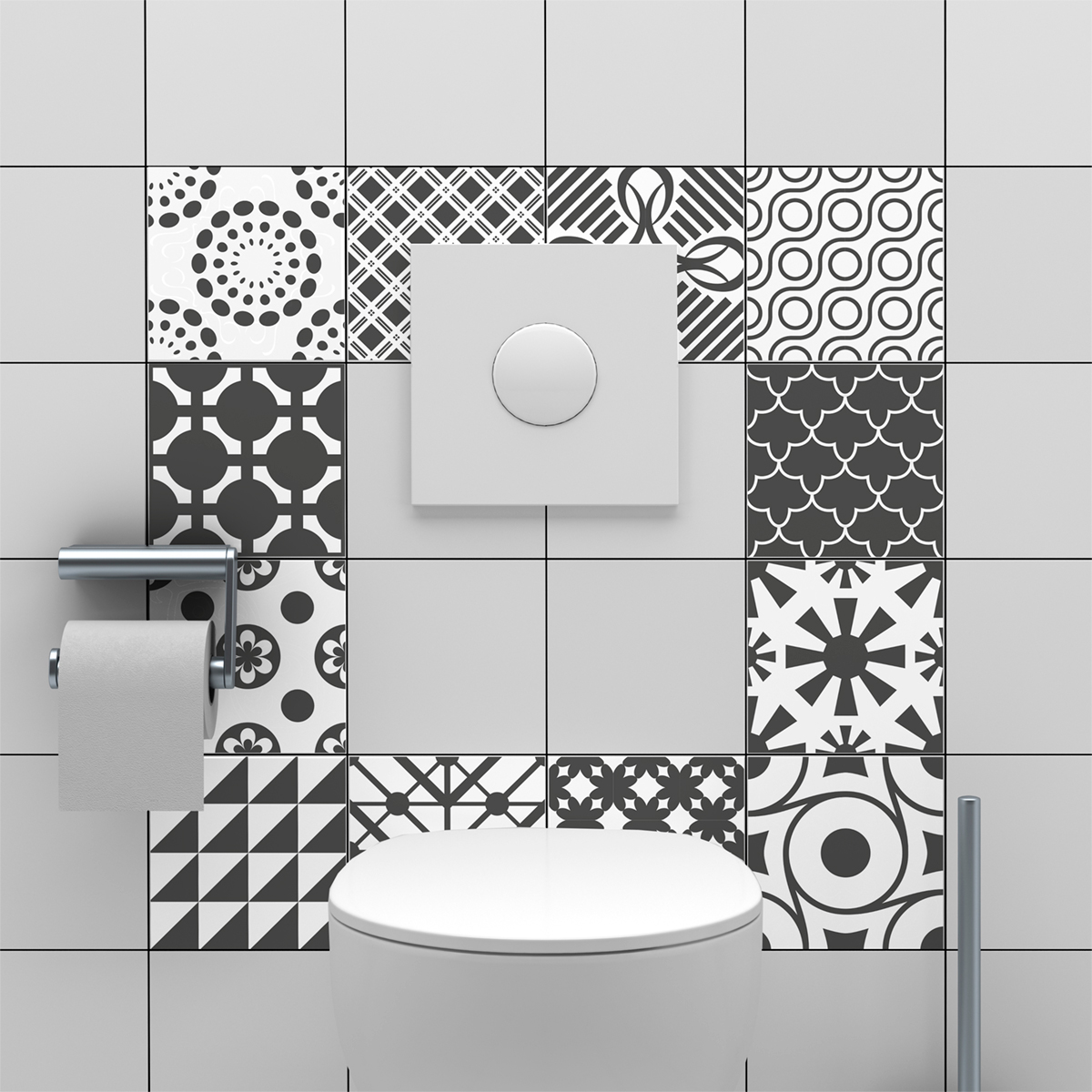 24 stickers carreaux de ciment nuances de gris lindos salle de bain et wc salle de bain. Black Bedroom Furniture Sets. Home Design Ideas