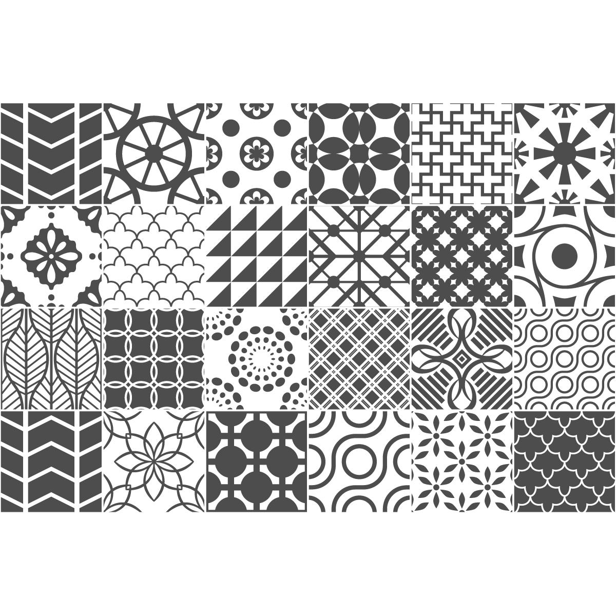 24 stickers carreaux de ciment nuances de gris lindos salle de bain et wc salle de bain. Black Bedroom Furniture Sets. Home Design Ideas