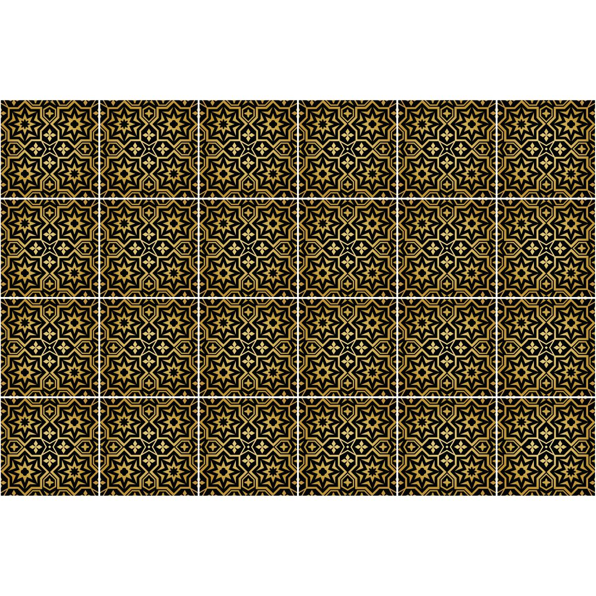 24 stickers carreaux de ciment oriental tabarka cuisine for Stickers carrelage 20x20
