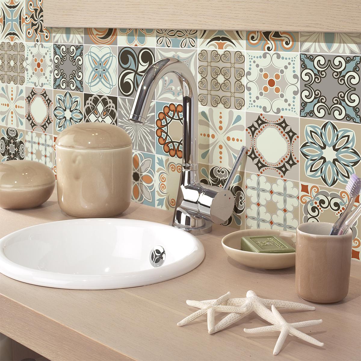 24 stickers carreaux de ciment rumba cuisine carrelages. Black Bedroom Furniture Sets. Home Design Ideas