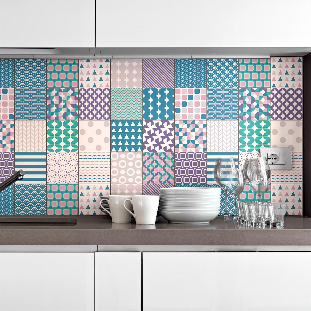 24 stickers carreaux de ciment scandinave vienne salle de bain et wc salle de bain ambiance. Black Bedroom Furniture Sets. Home Design Ideas