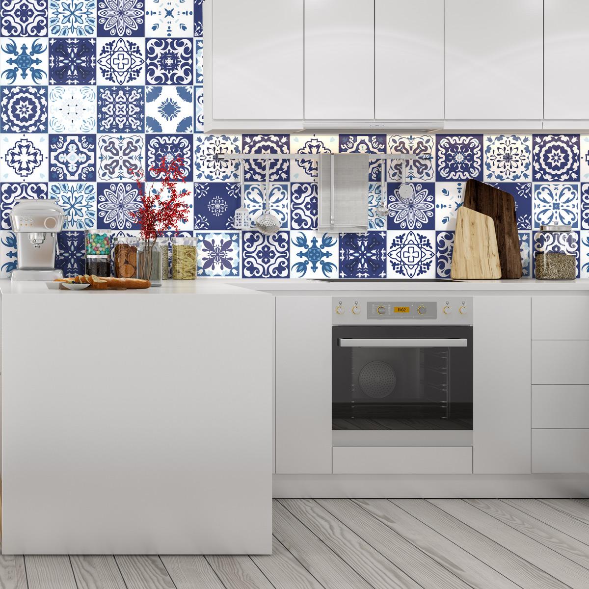 24 stickers carreaux de ciment syrtos cuisine carrelages for Stickers carreaux cuisine