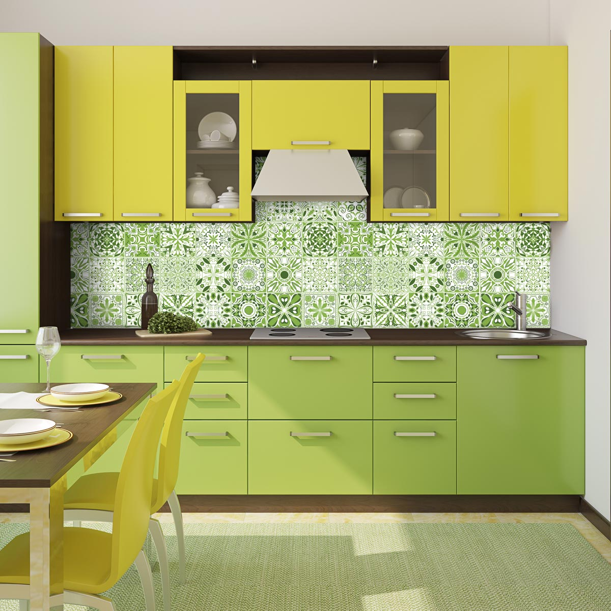 24 stickers carreaux de ciment vert lumi re art et. Black Bedroom Furniture Sets. Home Design Ideas