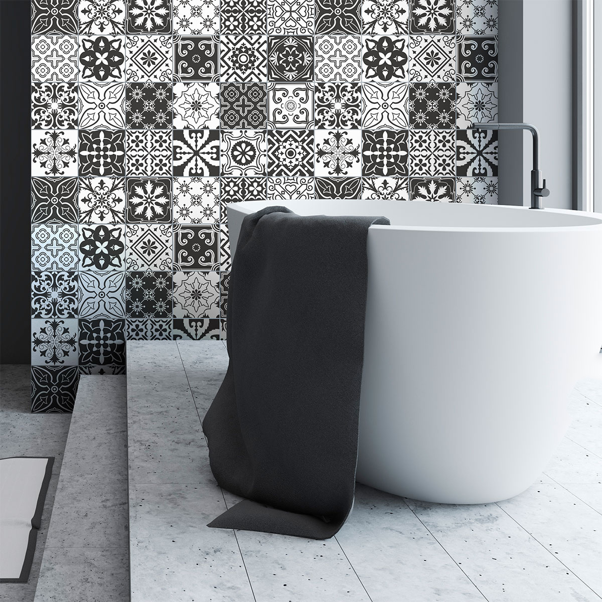 24 stickers carrelages azulejos amali da salle de bain et wc salle de bain ambiance sticker. Black Bedroom Furniture Sets. Home Design Ideas