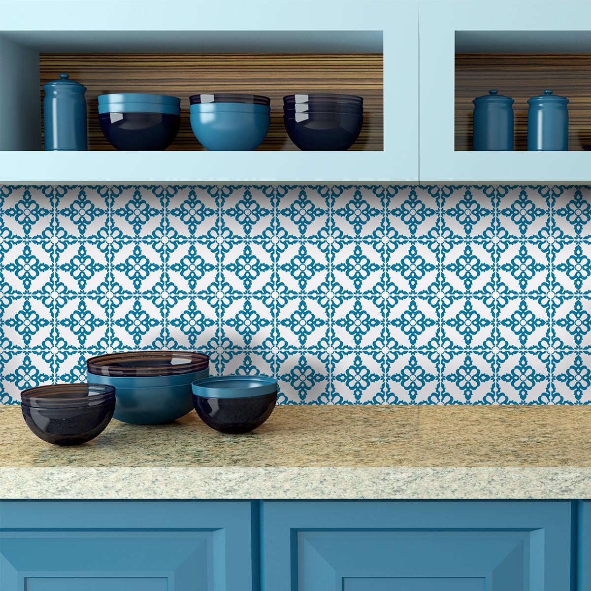 24 stickers carrelages azulejos augusta cuisine. Black Bedroom Furniture Sets. Home Design Ideas