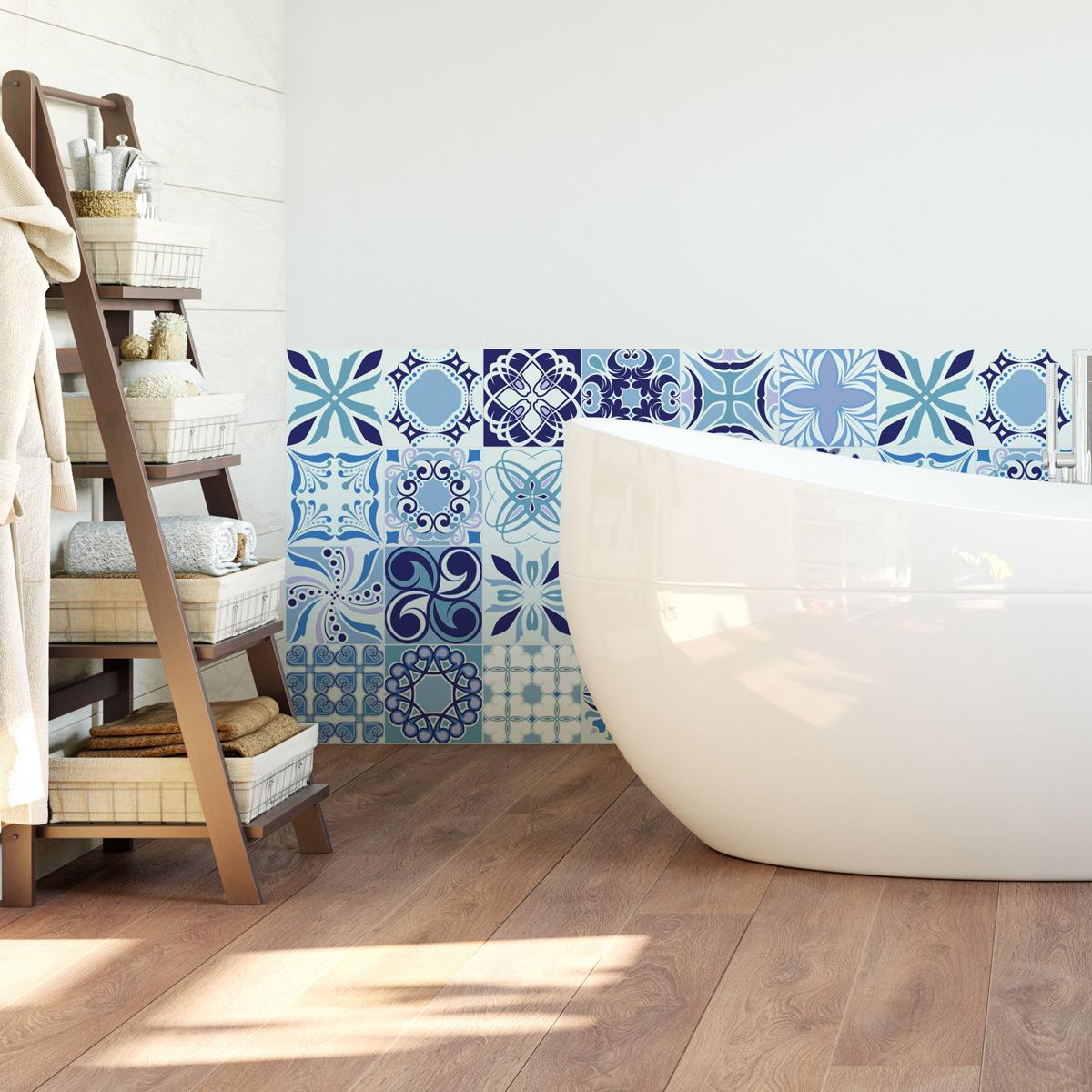 Accessoires Salle De Bain Azulejos ~ 24 stickers carrelages azulejos chacarera salle de bain et wc