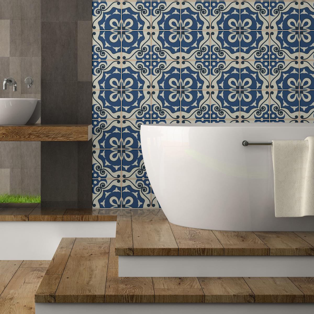 24 stickers carrelages azulejos fosca salle de bain et wc salle de bain ambiance sticker. Black Bedroom Furniture Sets. Home Design Ideas