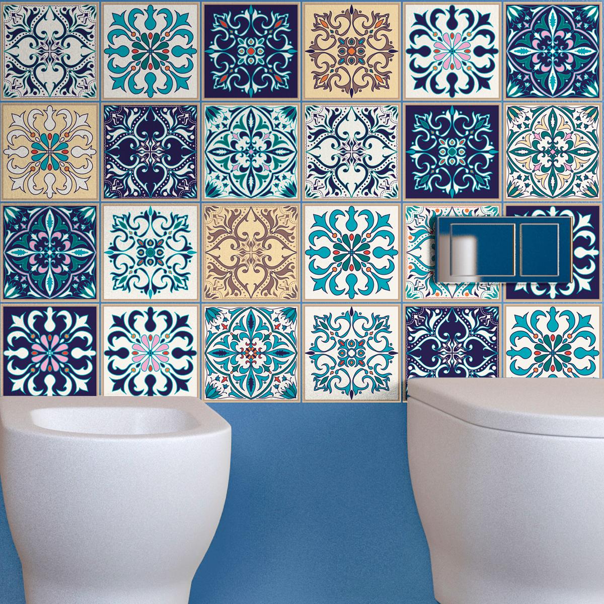 24 stickers carrelages azulejos larissa cuisine carrelages ambiance sticker. Black Bedroom Furniture Sets. Home Design Ideas
