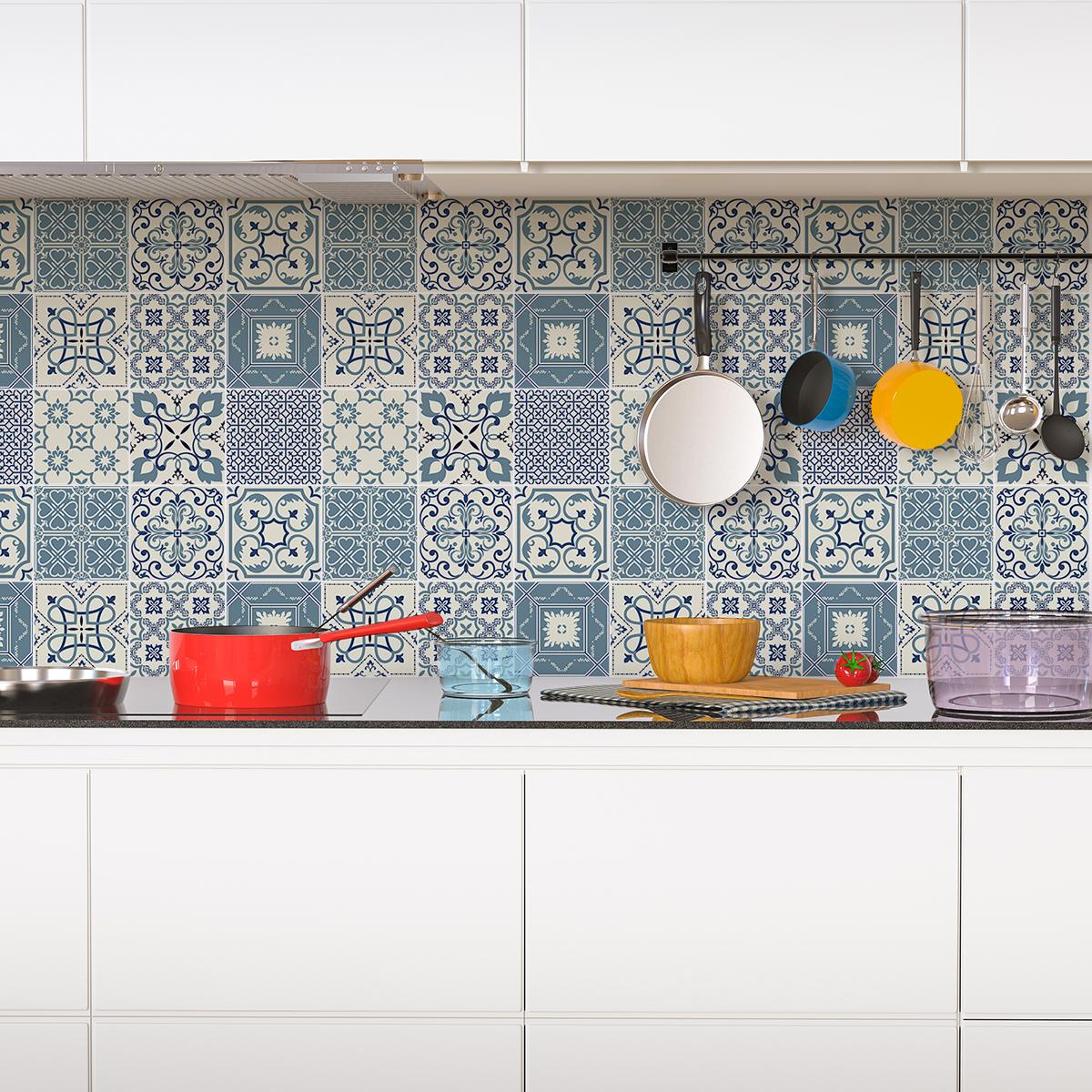 24 stickers carrelages azulejos laurenzo cuisine for Stickers carrelage 20x20