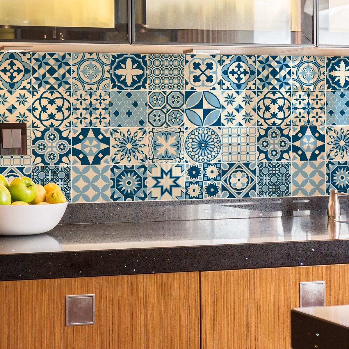 24 stickers carrelages azulejos miamo cuisine carrelages. Black Bedroom Furniture Sets. Home Design Ideas