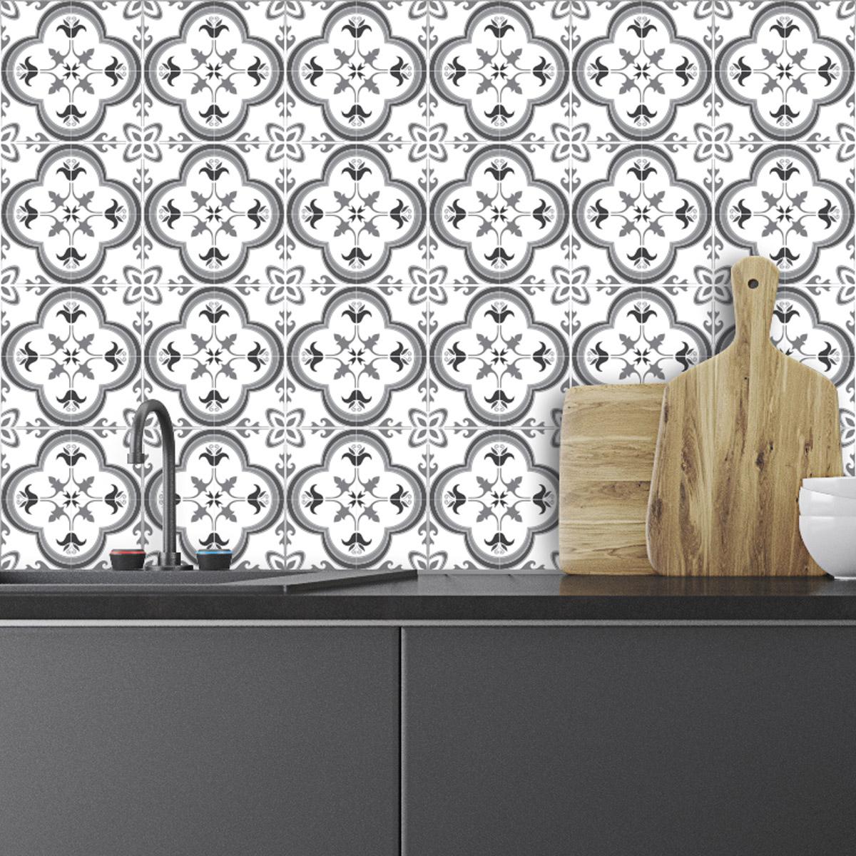 24 stickers carrelages azulejos nuance de gris somptueux art et design artistiques ambiance. Black Bedroom Furniture Sets. Home Design Ideas