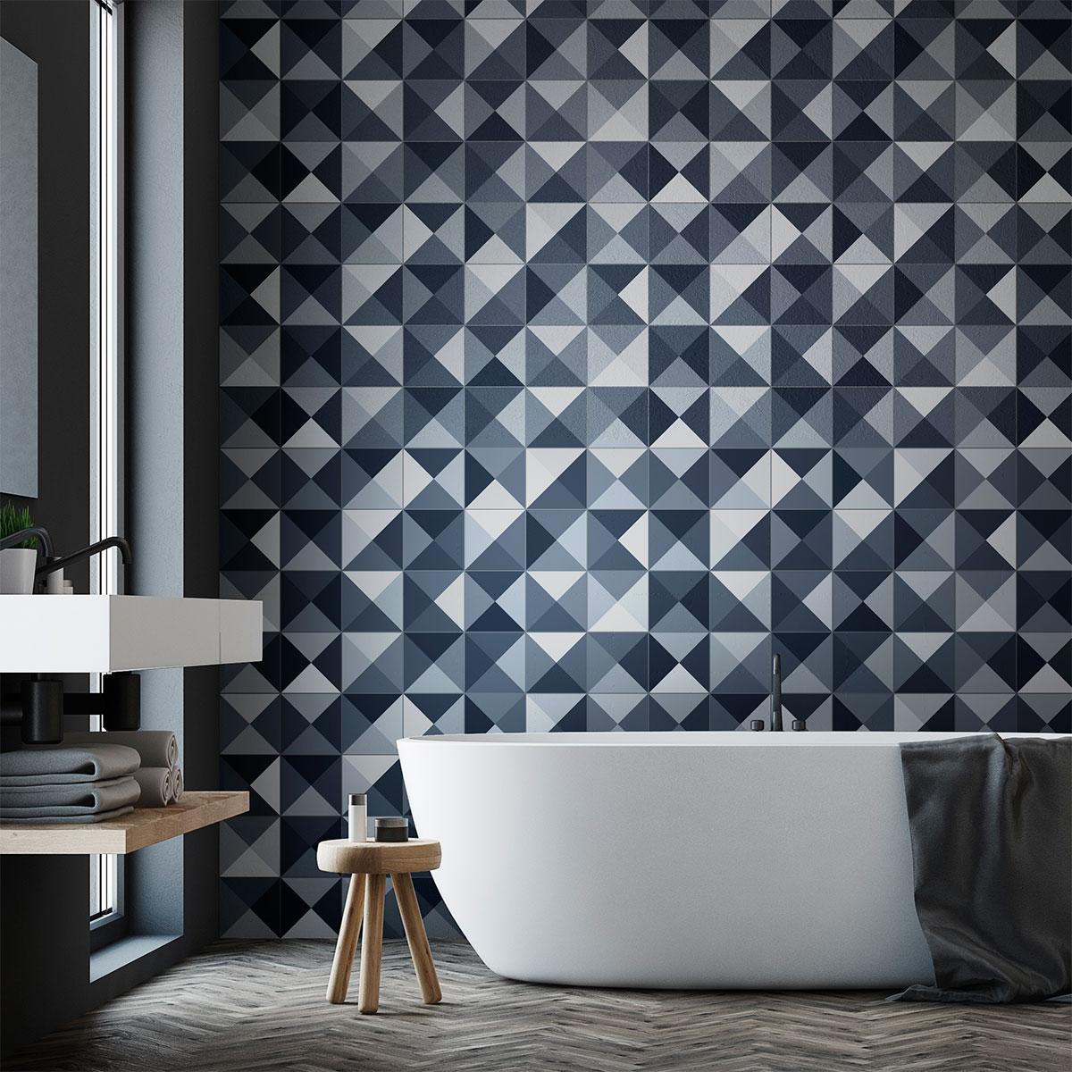 24 stickers carrelages azulejos nuances de gris g om trique art et design artistiques. Black Bedroom Furniture Sets. Home Design Ideas