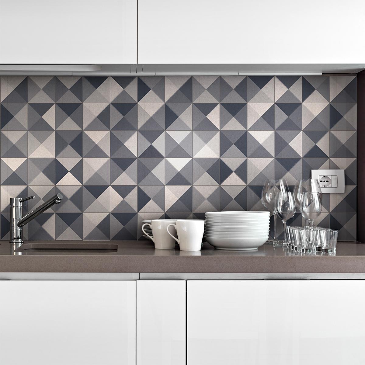 24 stickers carrelages azulejos nuances de gris - Carrelage geometrique ...