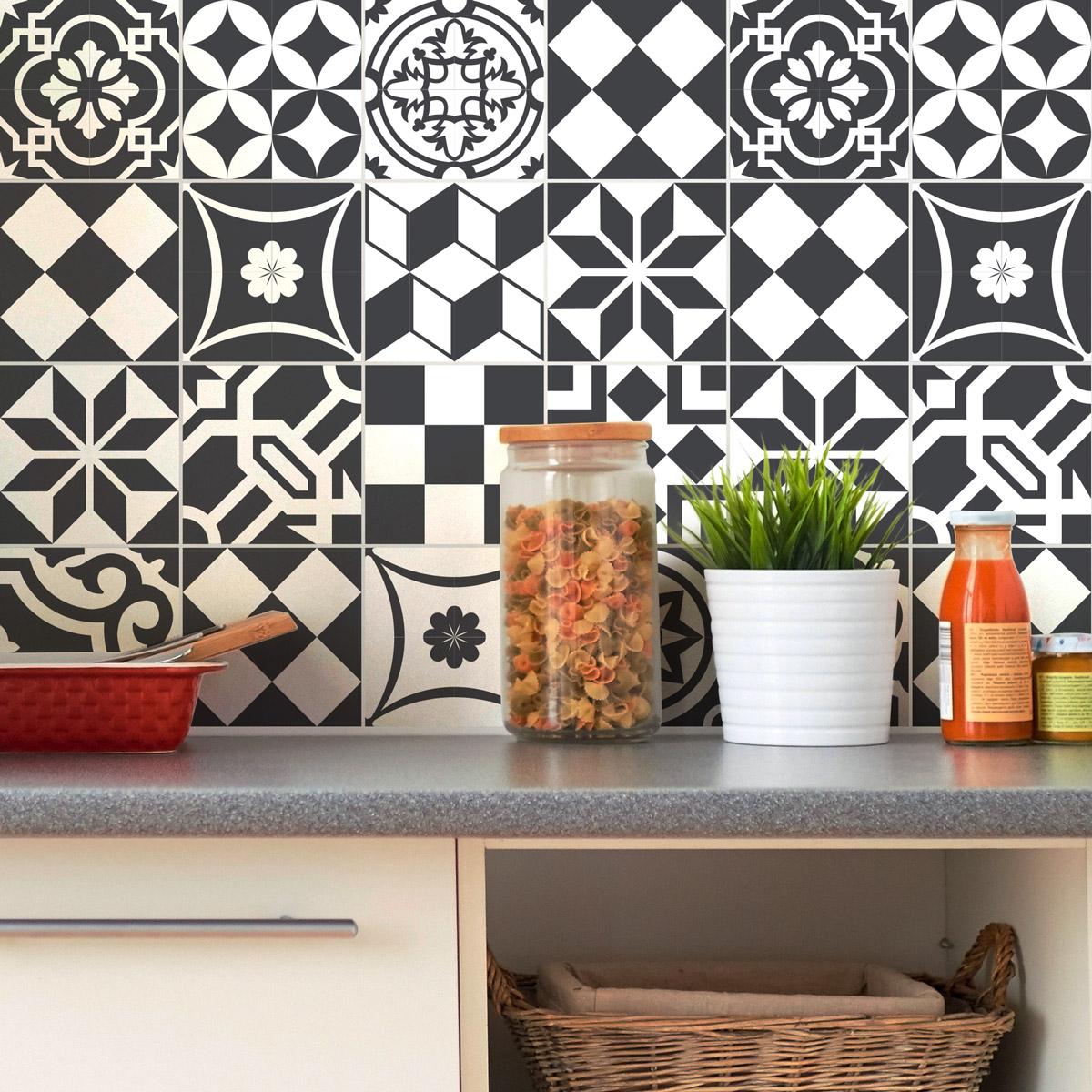 24 stickers carrelages azulejos ornements chic art et design artistiques ambiance sticker. Black Bedroom Furniture Sets. Home Design Ideas