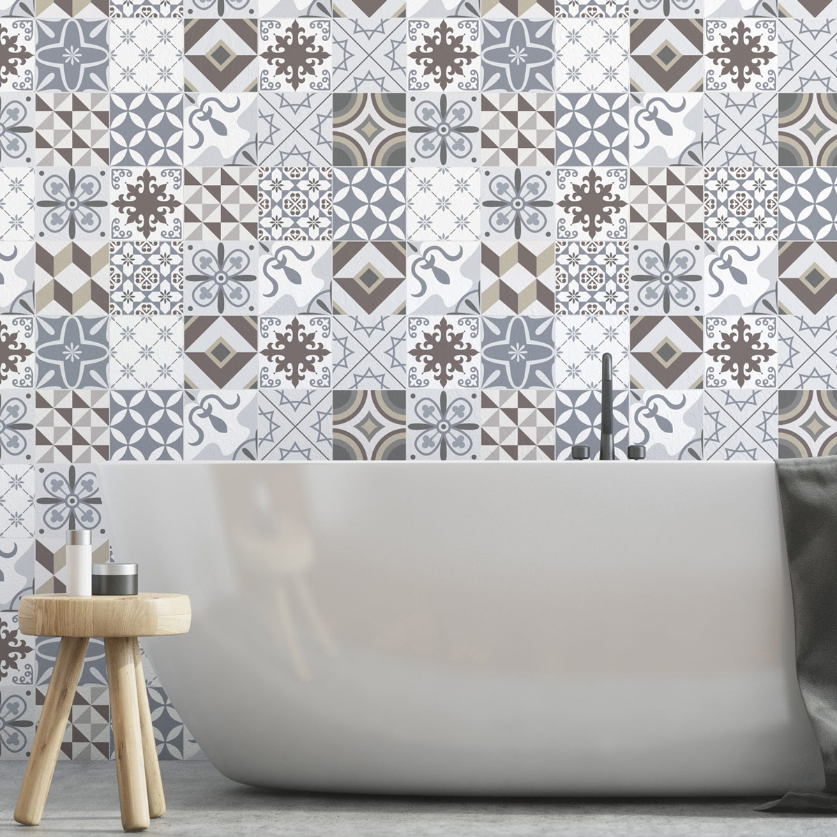 24 stickers carrelages azulejos ornements d licats art. Black Bedroom Furniture Sets. Home Design Ideas