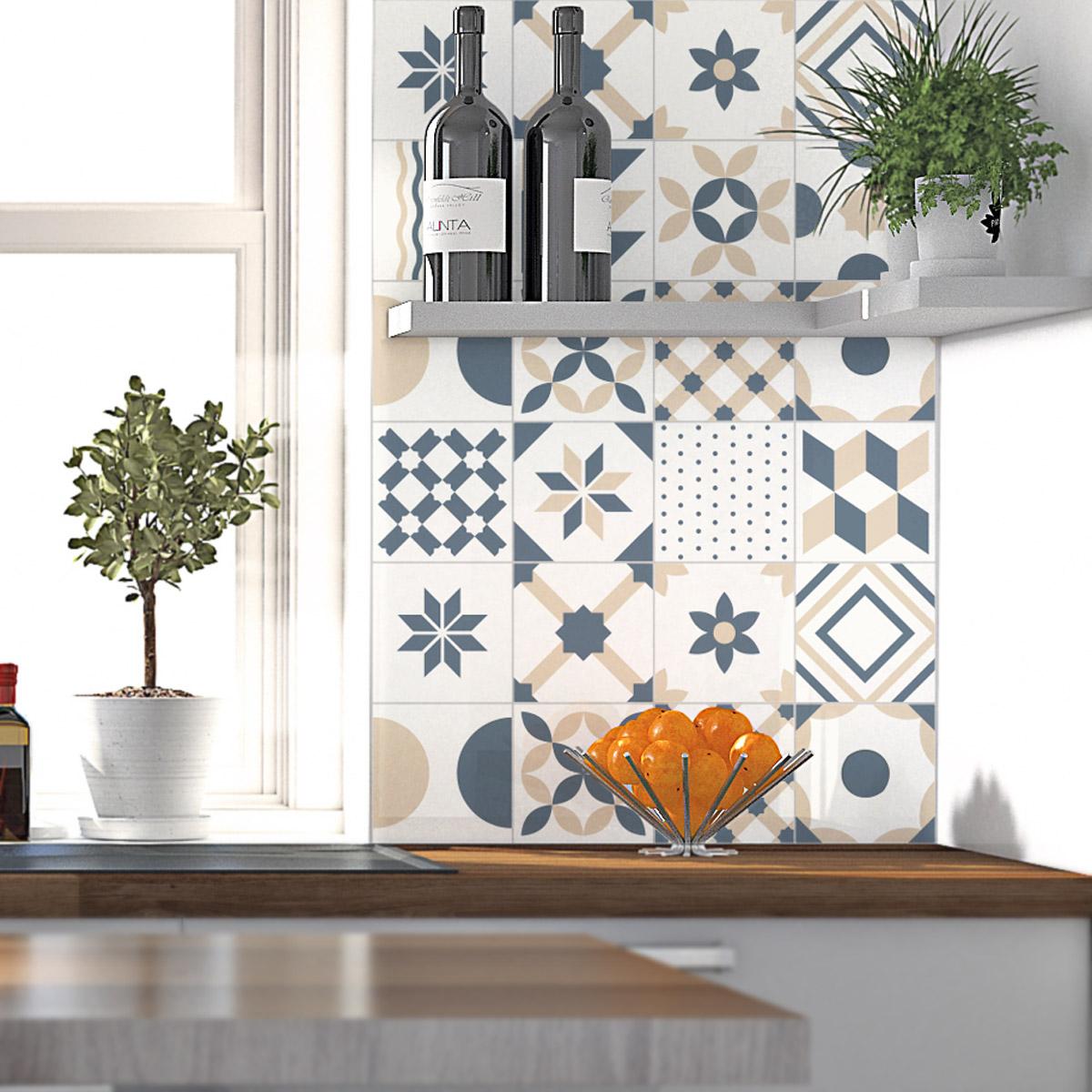 24 stickers carrelages azulejos ornements design art et. Black Bedroom Furniture Sets. Home Design Ideas