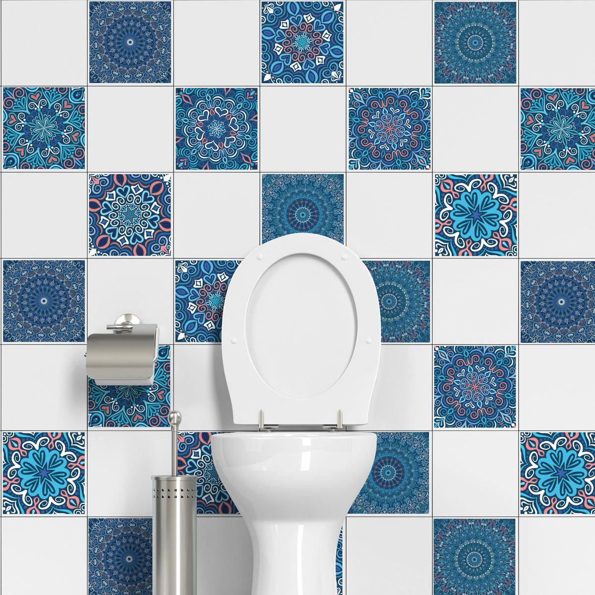 24 stickers carrelages azulejos ornements m diterran en. Black Bedroom Furniture Sets. Home Design Ideas