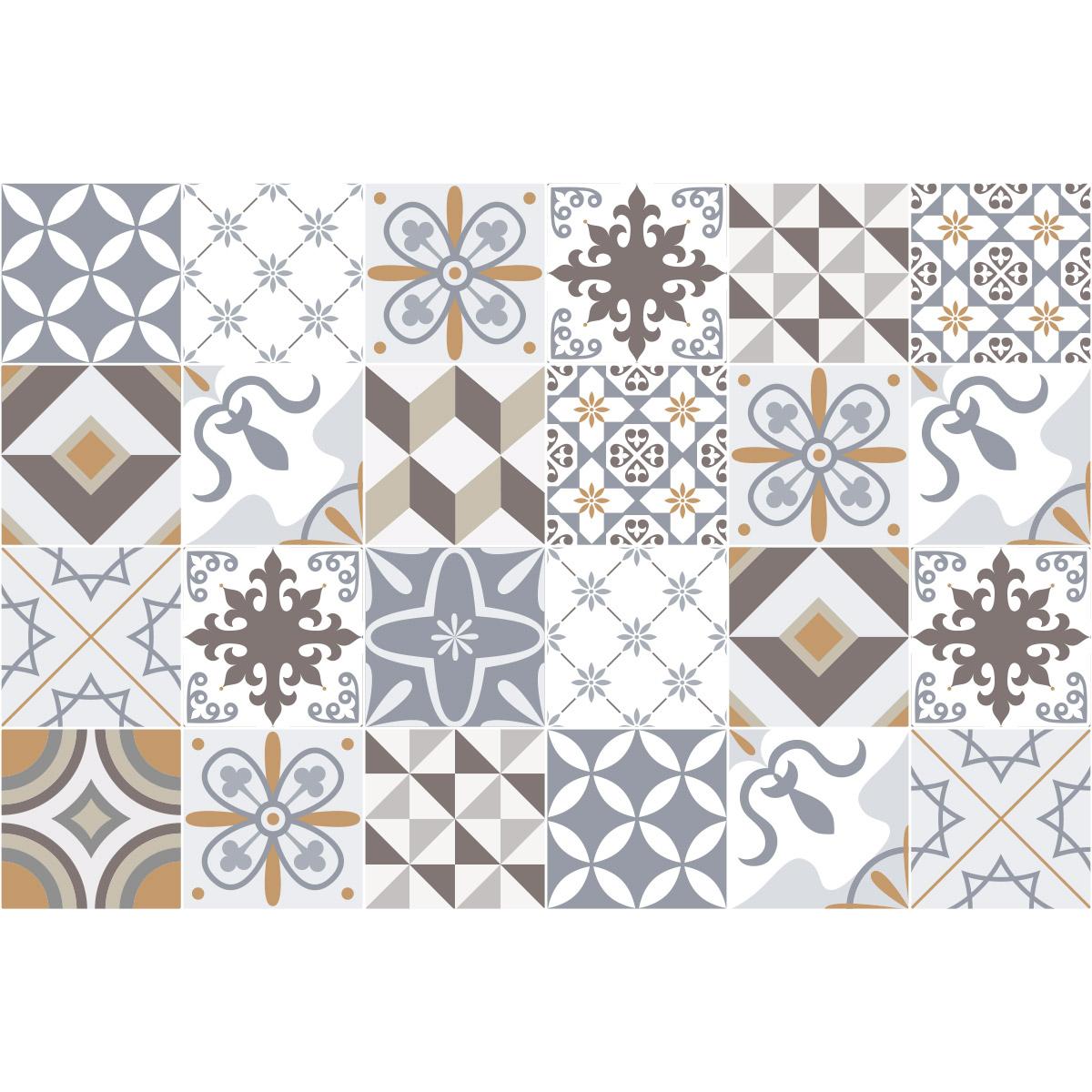 24 stickers carrelages azulejos ornements sobres art et. Black Bedroom Furniture Sets. Home Design Ideas