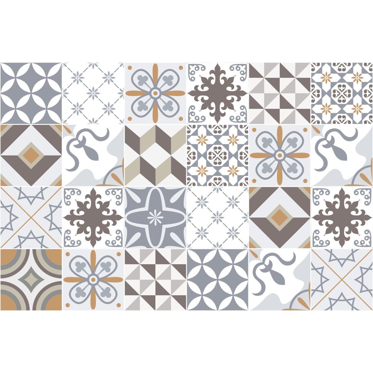 24 stickers carrelages azulejos ornements sobres art et for Carrelage 15x15