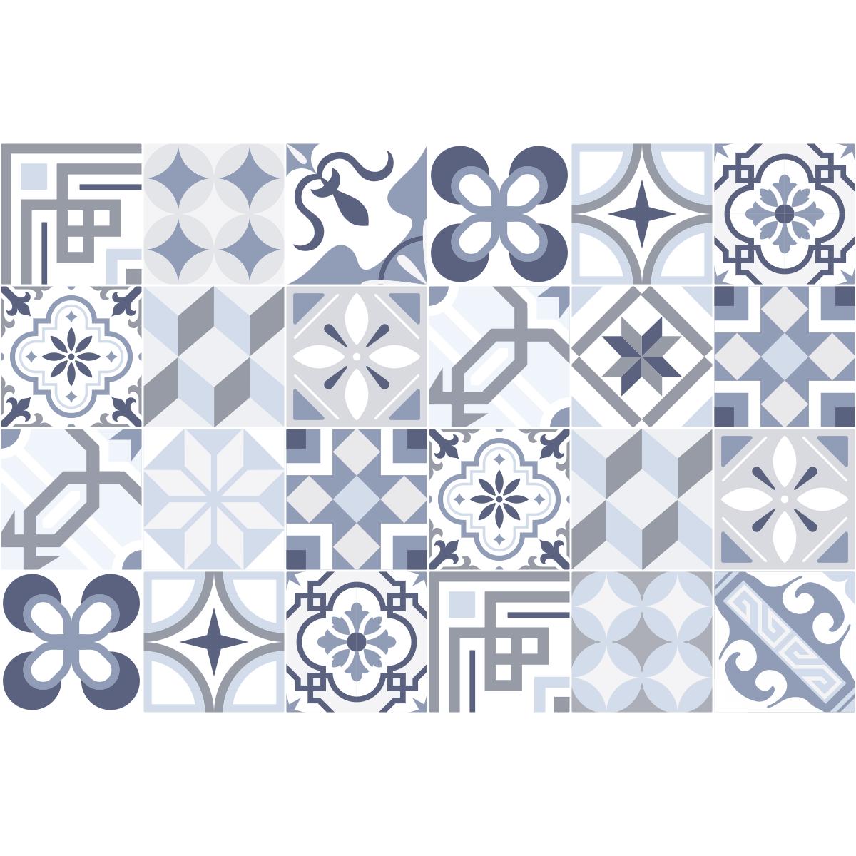 24 stickers carrelages azulejos ornements splendide art et design artistiques ambiance sticker. Black Bedroom Furniture Sets. Home Design Ideas