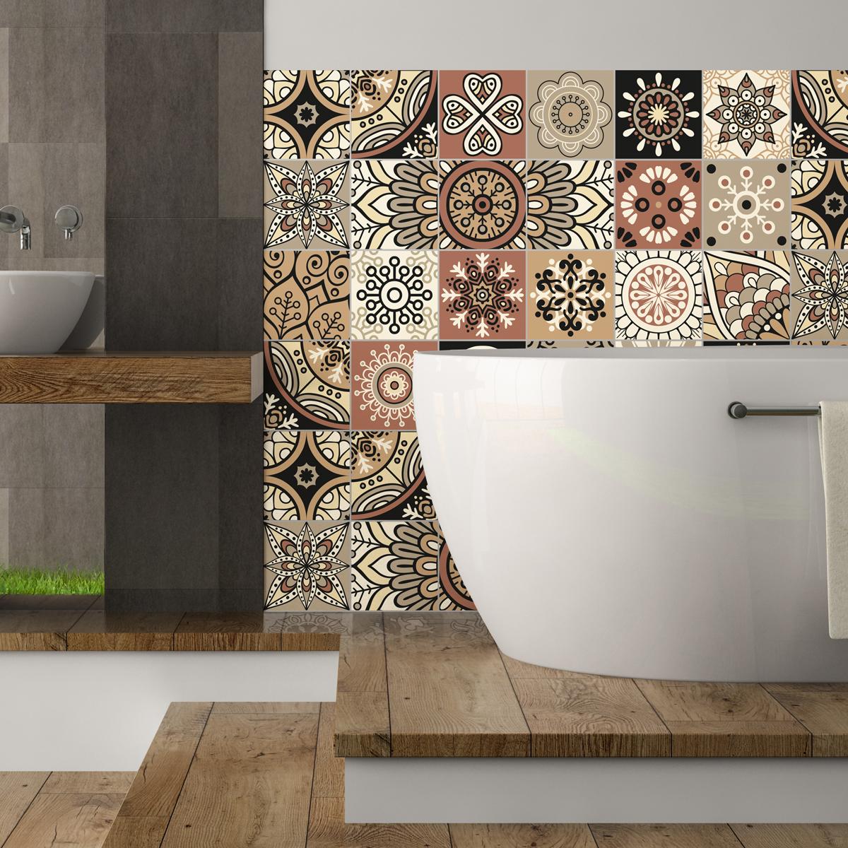 24 stickers carrelages azulejos piura salle de bain et. Black Bedroom Furniture Sets. Home Design Ideas