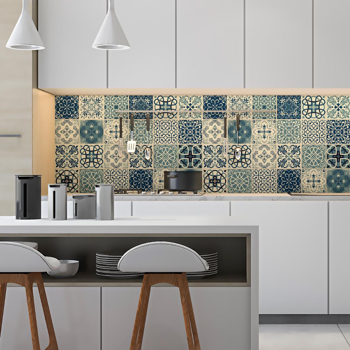 24 stickers carrelages azulejos salvador salle de bain et wc salle de bain ambiance sticker. Black Bedroom Furniture Sets. Home Design Ideas