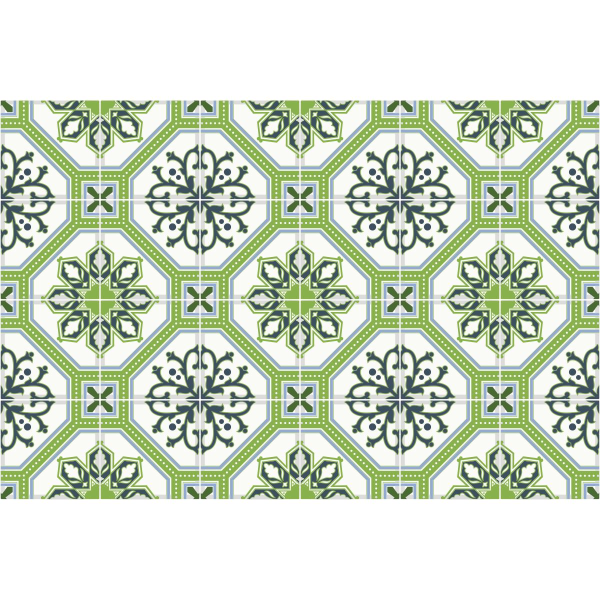 24 stickers carrelages azulejos vert lisbonne art et for Carreau transparent salle de bain
