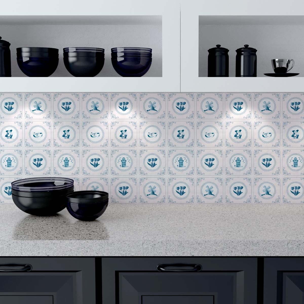24 stickers carrelages delft hilversum cuisine. Black Bedroom Furniture Sets. Home Design Ideas