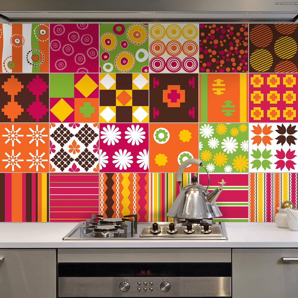 24 stickers carrelages ethnique sagamihara cuisine - Stickers cuisine carrelage ...