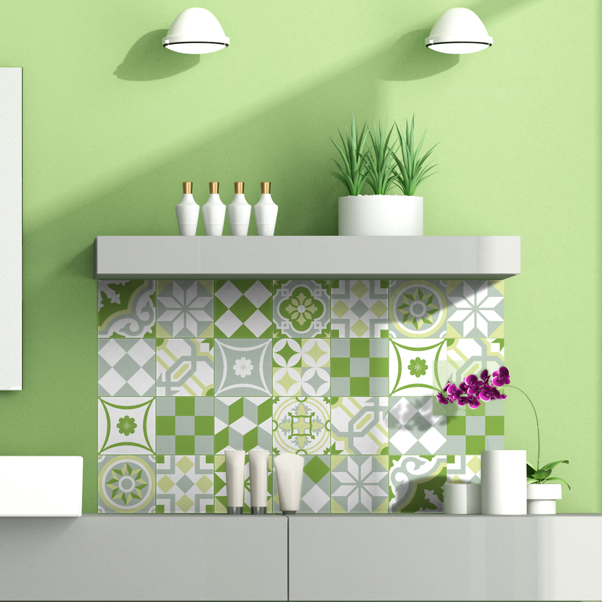 24 stickers carrelages ornements verdoyant art et design. Black Bedroom Furniture Sets. Home Design Ideas