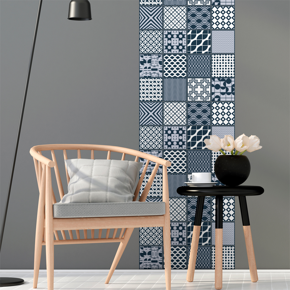 24 stickers carrelages scandinave malmo salle de bain et. Black Bedroom Furniture Sets. Home Design Ideas