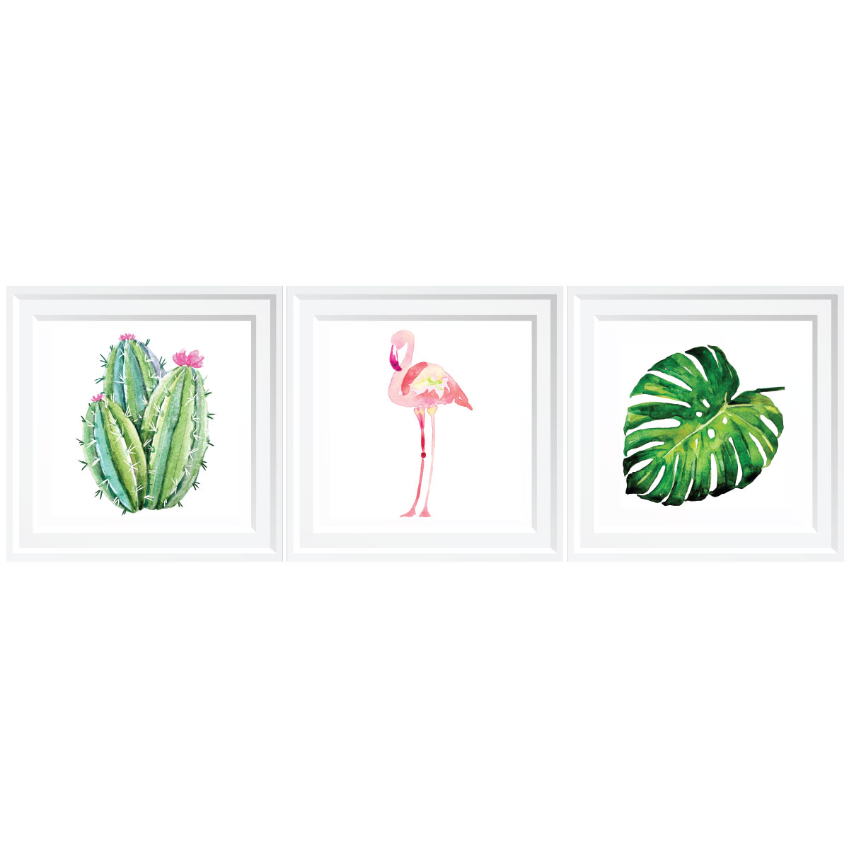 3 stickers cadres flamant rose tropical stickers animaux. Black Bedroom Furniture Sets. Home Design Ideas