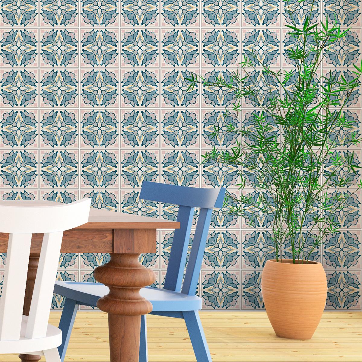 30 stickers carreaux de ciment azulejos aretha cuisine. Black Bedroom Furniture Sets. Home Design Ideas