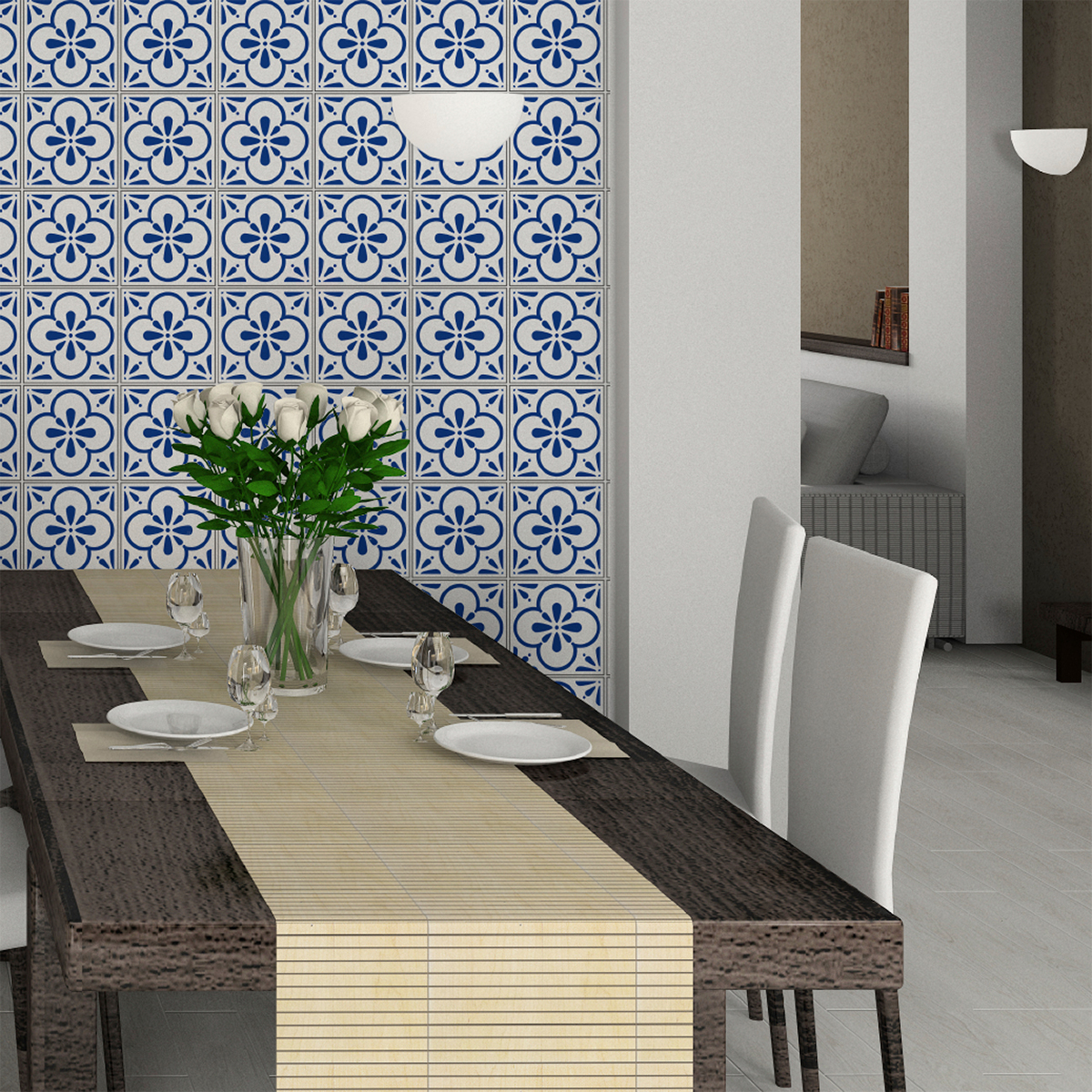 30 stickers carreaux de ciment azulejos aroha cuisine carrelages ambiance sticker. Black Bedroom Furniture Sets. Home Design Ideas