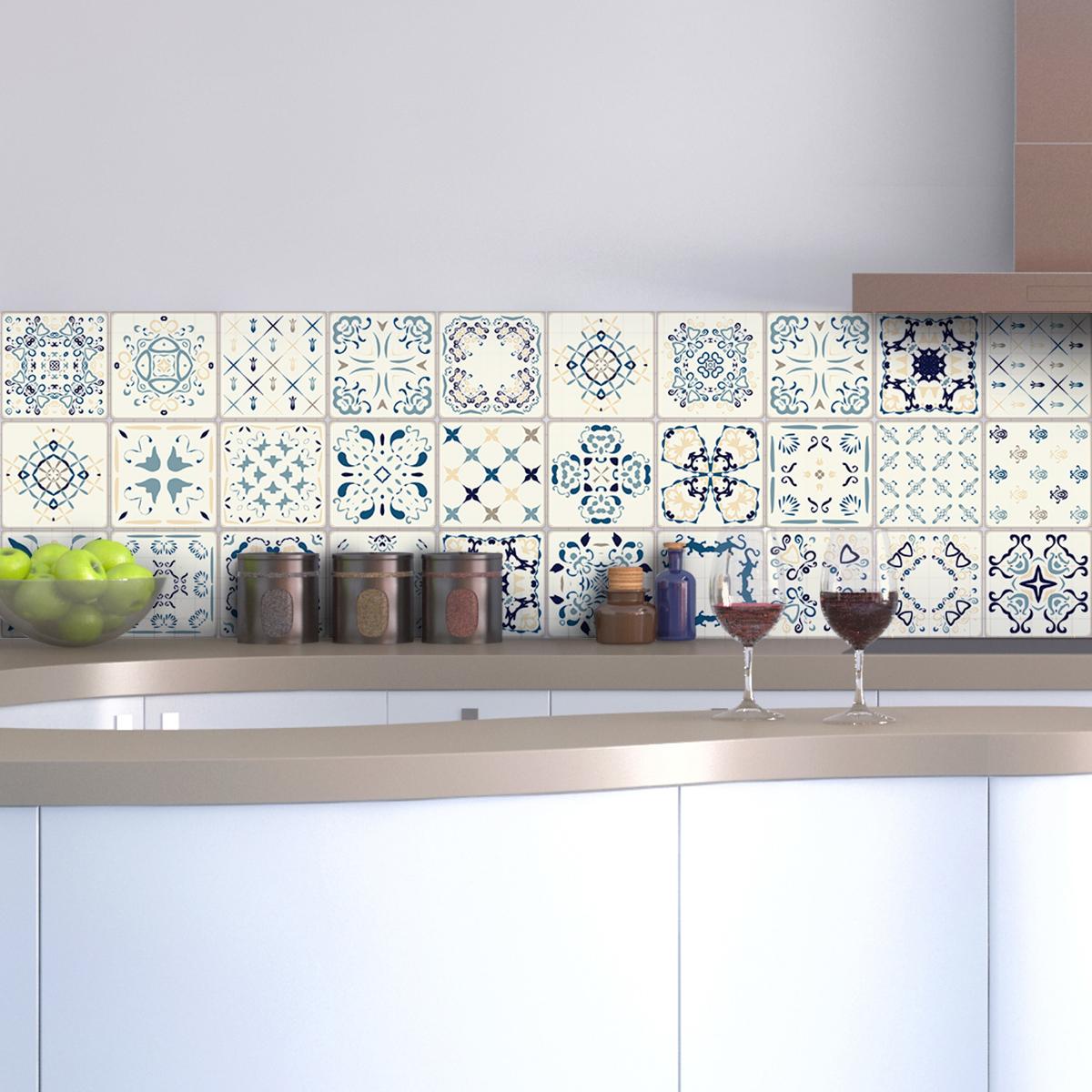 30 stickers carreaux de ciment azulejos benedetto. Black Bedroom Furniture Sets. Home Design Ideas