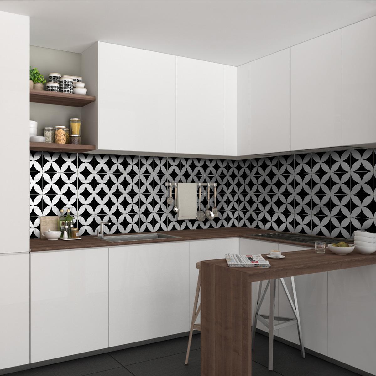 30 stickers carreaux de ciment azulejos benigno cuisine carrelages ambiance sticker. Black Bedroom Furniture Sets. Home Design Ideas
