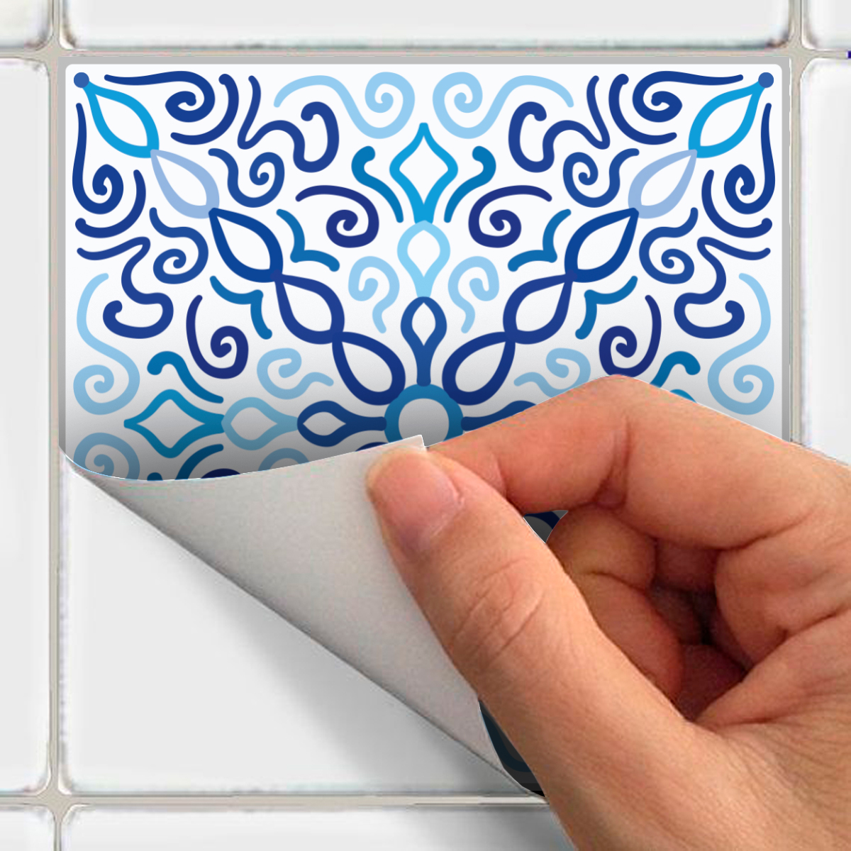 30 stickers carreaux de ciment azulejos diego cuisine for Stickers carrelage cuisine 15x15