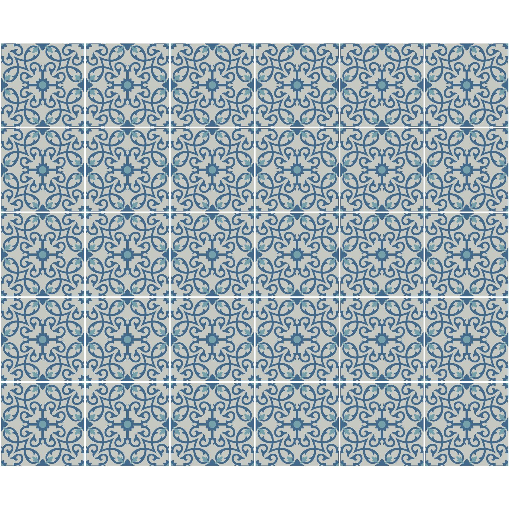 30 stickers carreaux de ciment azulejos dinis cuisine. Black Bedroom Furniture Sets. Home Design Ideas