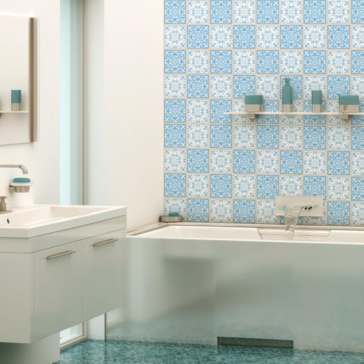 Salle De Bain Azulejos ~ 30 stickers carreaux de ciment azulejos elvira salle de bain et wc