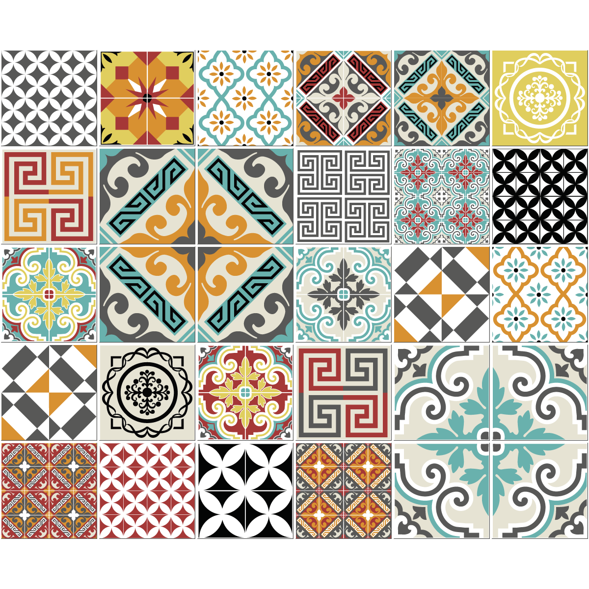 30 stickers carreaux de ciment azulejos lautaro cuisine. Black Bedroom Furniture Sets. Home Design Ideas