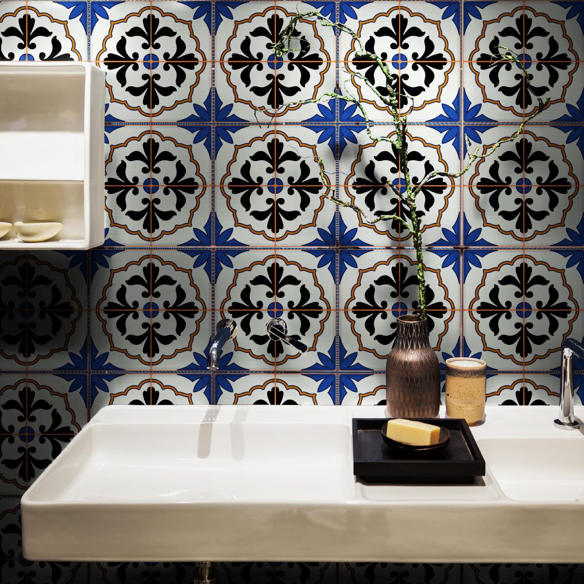 30 stickers carreaux de ciment azulejos mauro salle de - Wc carreaux de ciment ...