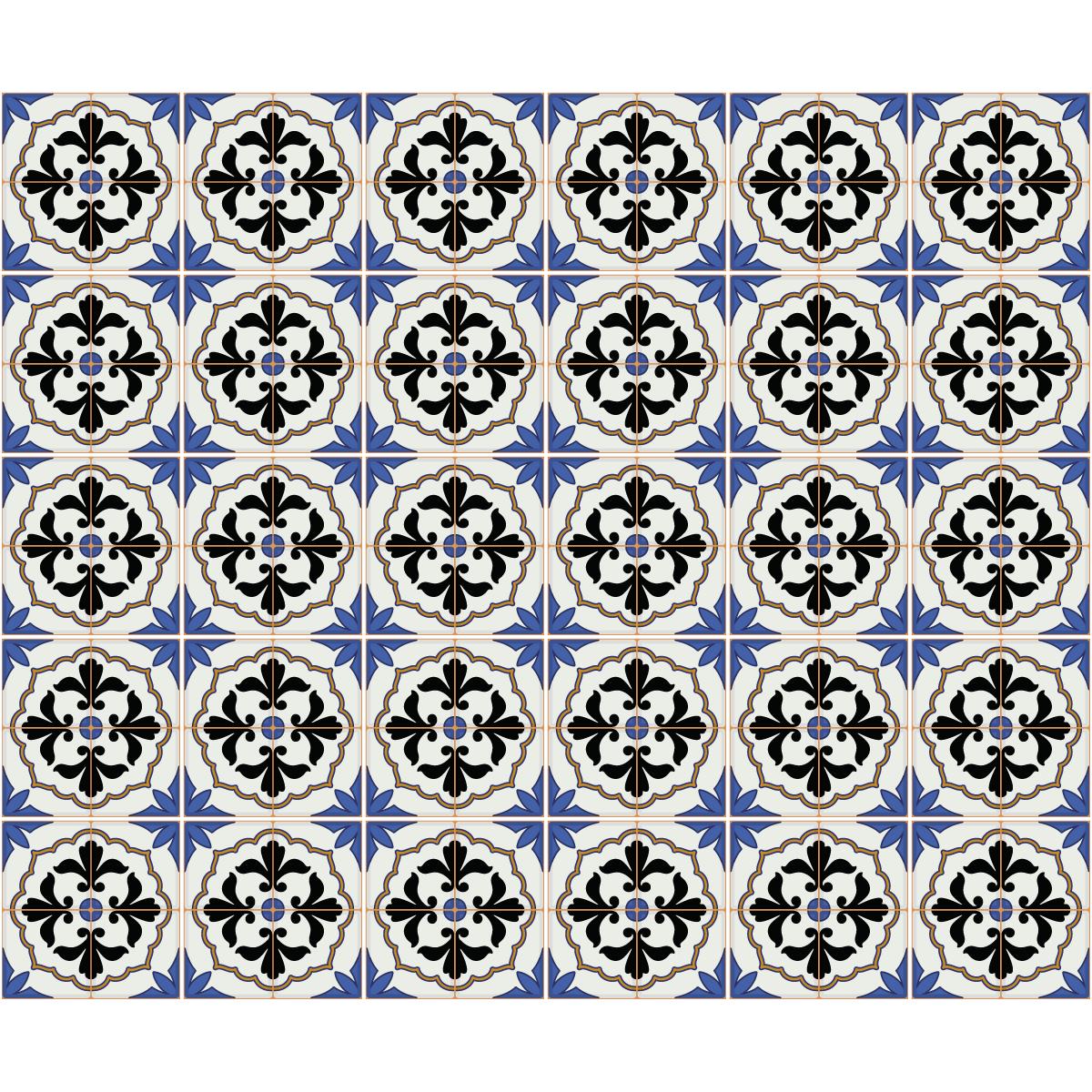 30 stickers carreaux de ciment azulejos mauro salle de bain et wc salle de bain ambiance sticker. Black Bedroom Furniture Sets. Home Design Ideas